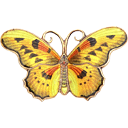 "Large Sterling Butterfly Pin, Golden Yellow Guilloche Enamel, 2 1/8"" Brooch"