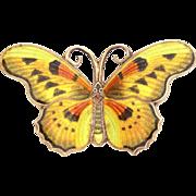 """Large Sterling Butterfly Pin, Golden Yellow Guilloche Enamel, 2 1/8"""" Brooch"""