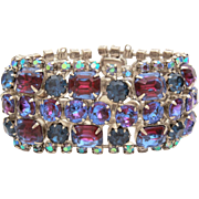 Blue & Purple Watermelon Rhinestone Bracelet with AB Aurora Borealis Prong Set Glass Stones