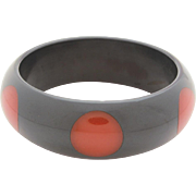 Polka Dot Bakelite Bangle Bracelet, 6 Red Inlaid Dots on Dark Gray