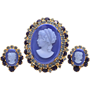 Juliana Blue Glass Cameo Pin Earrings Set, Verified DeLizza & Elster Book Piece D&E