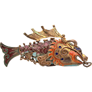 Sterling Enamel Chinese Articulated Koi Dragon Fish Pendant