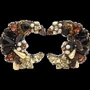 Signed Eugene Earrings Bead & Rhinestone Encrusted Crescent Moon Shape, Fall Colors