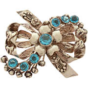 "Large Sterling Hobe Pin Open Back Blue Crystal Stones, Ornate Layers of Bows & Flowers, 3 3/8"" Wide"