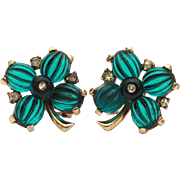 Crown Trifari Green Melon Glass 4 Leaf Clover Earrings, Moghul Series, Match Tom Tom & Pom Pom Pin
