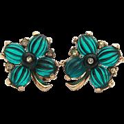 Crown Trifari Green Melon Glass 4 Leaf Clover Earrings, Moghul Series, Match Tom Tom & Pom Pom Pin