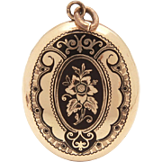 Antique Victorian Mourning Locket, Gold Filled with Black Taille d'Epargne Enamel