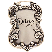 Victorian Revival Sterling Luggage Tag Pendant Foree Hunsicker Engraved Name Dana - Retro Designer Signed Necklace