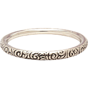 Antique Sterling Repousse Bangle Bracelet, Hollow Form, Hand Worked Silver