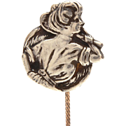 Edwardian Gibson Girl Sterling Stickpin, Antique Badminton Racket Tennis Player Stick Pin