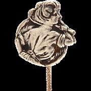 Edwardian Gibson Girl Sterling Stickpin, Antique Badminton Racket Tennis Player Stick Pin