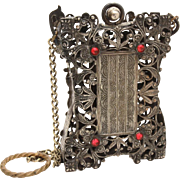 Antique Dance Purse with Finger Ring, Czech Filigree Style with Red Rhinestones, Calling Card Case, Dance Card Holder