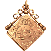 Antique Gold Filled Fob Locket Engraved Architecture, Scenic Engraving, Wightman & Hough Photo Locket
