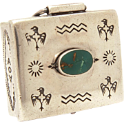 Bell Trading Post Native American Indian Sterling Turquoise Pillbox with Thunderbird Stampings, Silver Pill Box
