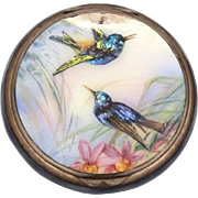 Sterling Guilloche Enamel Powder Compact, Limoges Enameled Birds, Victorian Swallows, As-Is Condition for repair