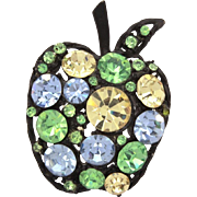 Rhinestone Apple Pin, Black Japanned Fruit with Glass Chatons in Green, Blue, Yellow - School Teacher Gift