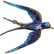Pin Sterling Enamel Marcasites, Victorian Revival Swallow, Blue Bird Brooch, 935 Silver Basse Taille