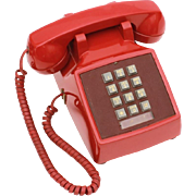 1960s Red Western Electric Telephone Model 2500 DMG Desk Top Phone with Push Buttons, Bell Systems