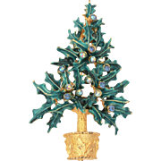 Mylu Christmas Tree Pin Enamel Holly Leaves & Blue AB Rhinestones