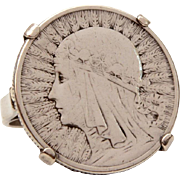 1934 Poland Zloty Coin Ring with Queen Jadwiga in Arts & Crafts Style, 750 to 800 Silver Polish Coin Jewelry, Size 5 1/2