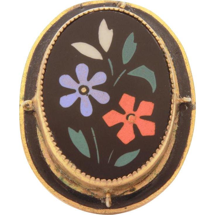 Victorian Black Glass Inlay Flowers in Gilded Brass, Size 5 1/2, Antique Costume Jewelry