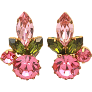 Austria Crystal Rhinestone Earrings, Pink & Green Prong Set Stones, Austrian