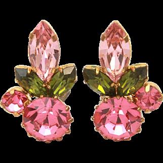 Austria Crystal Rhinestone Earrings, Pink & Green Prong Set Stones, Austrian