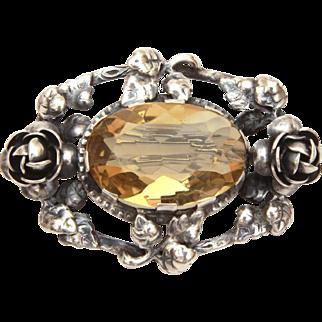Edwardian Sterling Roses & Citrine Pin, Antique November Birthstone Brooch Germany
