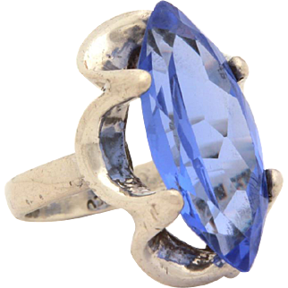 Taxco Mexico Sterling & Blue Spinel Ring, Mexican Silver Size 6 3/4