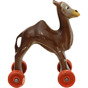 "Vintage Hard Plastic Camel on Wheels, 3.25"" Hong Kong Toy"