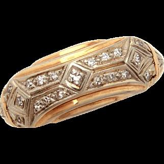 Art Deco 14k Diamond Ring, 14k Yellow & White Gold 19 Diamonds, Size 6 1/2