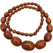 "Bakelite Graduated Bead Necklace in Marbled Brown and Butterscotch, Simichrome Tested, 23.25"" Long"