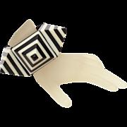 Retro Laminated Plastic Bracelet with Black & White Stripe Pyramids, Expandable
