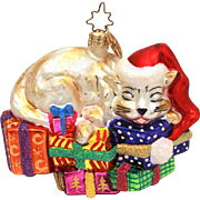 Christopher Radko Cat Christmas Ornament Gifted Feline in Box with Tag