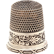 Antique Sterling Thimble Simons Bros. Etched Band of Victorian Style Acanthus Leaves, Size 11