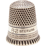 Antique Sterling Thimble Stern Bros. Fouled Anchor Pie Crimp Edge and Band Acanthus Leaves, Size 6