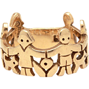 Retired James Avery 14k Gold Paper Dolls Ring, Children Animals & Flowers, Size 7 3/4