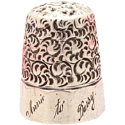 Antique Sterling Thimble Engraved Annie to Daisy, Simons Bros Swirl Pattern