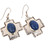 Santa Fe Cross Earrings, Sterling Denim Lapis Pierced Dangle Southwest