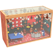 Mexican Folk Art Diorama, Kitchen Bakery Miniature Mexico Scene, Wood Box with Glass Front and Top