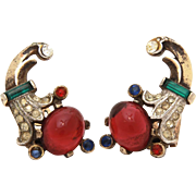 Sterling Trifari Talisman Earrings by Alfred Philippe 1947, Ruby Red Cabochons & Emerald Green Baguettes