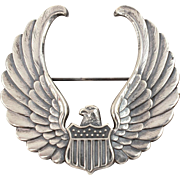 WWII Sterling Civilian Flight Instructor Pilot Wings, USAAF United States Army Air Force, Cap or Visor Badge Pin