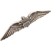 "WWII Sterling Civilian Flight Instructor Pilot Wings, USAAF United States Army Air Force, 3.75"" Long"