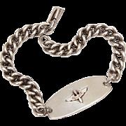 """WWII Sterling USAAF ID Bracelet, Pilot Wings & Propeller, Unisex Bracelet 7.8"""" Long"""