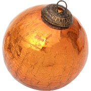 "Very Large Orange Crackle Glass Christmas Ornament, 4.5"" Bronze Orange"