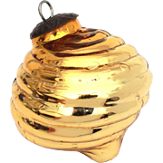 "Vintage Christmas Ornament Golden Yellow Ribbed Glass, Large 3.75"" Xmas Decoration"