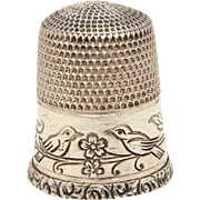 Thimble with Lovebirds on Branch Sterling Simons Bros. Romantic Love Bird Theme Sewing Tool