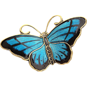 Sterling Enamel Norway Butterfly Pin Signed Hroar Prydz
