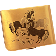 Elgin American Loose Powder Compact with Horses, Engraved Horse Lid