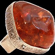 Massive Genuine Amber Sterling Adjustable Ring, Pin Tested